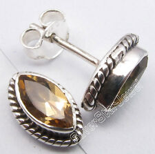 """Post Earrings 0.4"""" Factory Direct 925 Pure Silver Dazzling Citrine Handcrafted"""