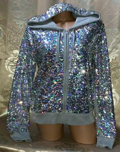 VICTORIA'S SECRET PINK SILVER ALL-OVER BLING IRIDESCENT SEQUIN FULL ZIP HOODIE L
