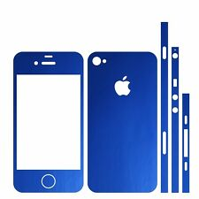 22 FARB. IPHONE 4 FOLIE BLAU MATT ( BUMPER COVER HÜLLE SKIN SCHALE CASE HANDY )