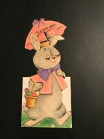 VINTAGE GREETING CARD DIE CUT EASTER BUNNY * HALLMARK* 1950'S