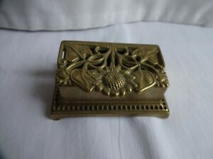 VINTAGE 2 SECTION CAST BRASS STAMP BOX with SUNFLOWER DECORATION