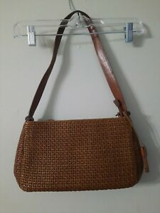 Fossil Brown Woven Leather Shoulder Bag Purse