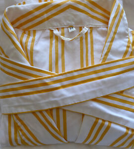 Turnbull & Asser Men's Gold/White Pinstripe Cotton Gown Belted Robe Medium