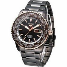Seiko 5 Sports World Time Men's Black PVD Stainless Strap Watch