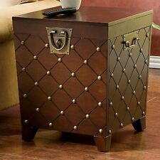 Hope Chest Storage Trunk Wooden Antique End Table Small Box For Quilts Blanket