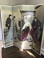 Exceptional 1970S Harpers Bazaar Hand Painted Four Panel Screen Room Divider