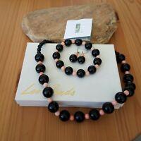 Vintage Lee Sands Onyx Pink Coral Beaded Parure Necklace Earrings Bracelet NOS
