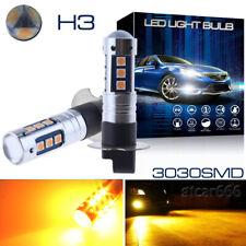 2X 15SMD H3 LED Fog Driving Light Bulbs 3000K Amber Yellow Daytime Running Light