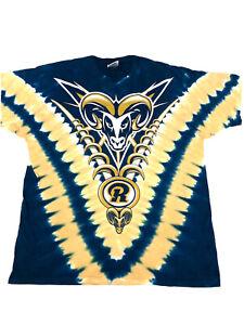 Vtg 80-90's Liquid Blue NFL St Louis Rams Football V-Design Tie Dye T-Shirt L