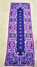 "Vintage blue purple pink hand roll bold mod paisley print scarf 16"" x 44"""