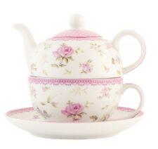 Clayre & Eef Teekanne Tea for one Rosen Teepott Kanne mit Tasse Porzellan 52552