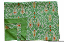 Green Kantha Quilt in paisley indian Cotton Quilt ikat Throw Blanket Bedspread
