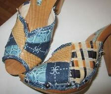 Trend 2017 FABI Shoes Sabot Zoccoli pelle pitone Phyton denim patchwork €560 New