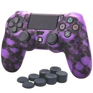 Silicone Grip Purple Skulls + (8) Multi Thumb Caps For PS4 Controller