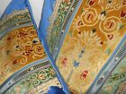 Antique cut velvet fabric Throw pillows arabesque style blue yellow new PAIR