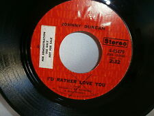JOHNNY DUNCAN I d rather love you baby's smile woman's kiss 45479 Sticker promo