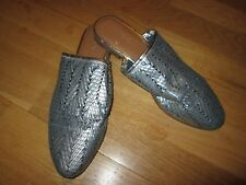 next silver blue low heel mules shoes size 8 eu 42 brand new tags