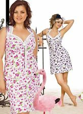 COTTON NIGHT GOWN MADE IN EUROPE SLEEVELESS FLORAL SEXY NIGHTY SLEEPWEAR S M L
