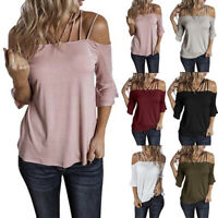 Women Summer Flare Sleeve Cold Shoulder T Shirt Casual Solid Blouse Loose Tops