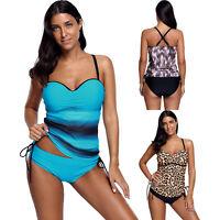 Damen Tankini Push-up Swimwear Bikini Set Bandeau Dots Badeanzug Schwimminganzug