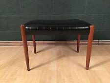 Retro Vintage Mid Century Black Vinyl Teak Dressing Table Stool Seat