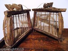 Oceanic BIRD CAGE DOUBLE Lombok Island Indonesia Handmade Wood BALI rare TRIBAL