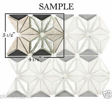 *SAMPLE Wood Marble & Glass Diamond Kitchen Bath Wall Mosaic Backsplash Tile