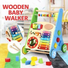 Wooden Baby Walker Toddler Kid Push Activity Colourful Toys w/Musical Instrument