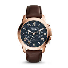 Fossil FS5068 Watch Grant Chrono Brown Leather  5 ATM 44mm RRP $229