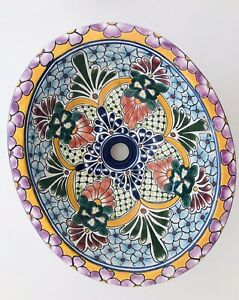 """17"""" DROP IN OVAL CUSTOM HAND PAINTED PORCELAIN SINK NEW"""