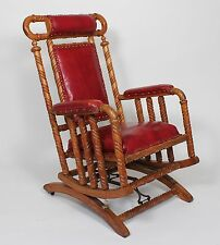 Hunzinger Oak Platform Rocking Chair Leather seat