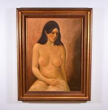 *Vintage Signed Oil on Canvas Painting by R. Yereecken of a Nude Woman