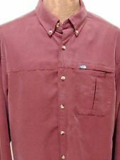 The North Face Mens L Burgundy Long-Sleeve Modal Polyester Button-Down Shirt