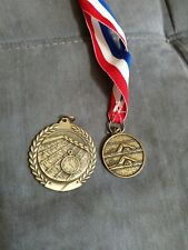 Swim Championship Bronze/gold tone Medal with ribbon. Die-cast metal