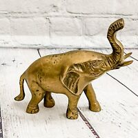 Vtg Solid Brass Elephant Statue Figurine Mid Century Home Decor Lucky Trunk Up