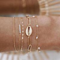 5Pcs/Set Boho Natural Shell Chain Bracelets Bangle Jewelry Women Charm GiYT