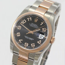 Rolex Datejust 116201 Black Concentric Dial Steel 18K Everose Gold Box