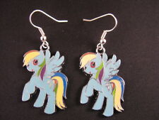 Handmade 'My Little Pony' style earrings (Rainbow Dash)