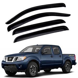 For 2005-2020 Nissan Frontier 4pcs Smoke Window Sun Rain Visors Wind Crew Cab