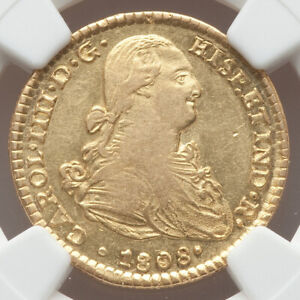 1808 GOLD NGC AU55 MEXICO Charles IV King of Spain 2 Escudos