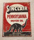 "Sinclair Motor Oil 12.5"" x 16"" Vintage Style Metal Tin Signs Dino Texaco Gas Can"