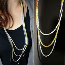 Vintage Womens Silver 4 layers Long Tassel Charms Long Necklace Sweater Chains