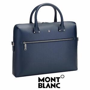 Montblanc 4810 Westside MB 118631 Blue Leather Document Case Slim Jacquard Bag