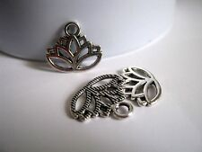 10 Antique Silver Lotus Flower Charms, 17x14mm, Jewelry Supplies, Charms  (1007)