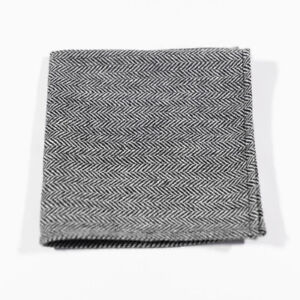J.CREW Pocket Square Wool Black Herringbone Vintage Wedding Handkerchief 13x13