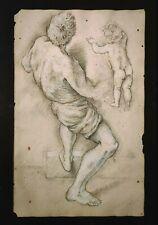 OLD MASTER DRAWING Charcoal Chalk 17th CENTURY Original ITALIAN! Ancien Dessin