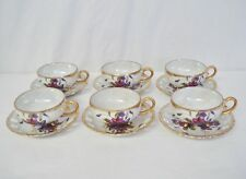 6 Footed Cups & Saucers Violets Gold Pearl Iridescent Pierced Saucer & Cup Set