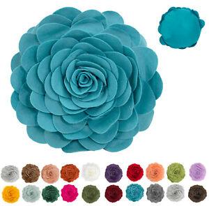 "Fennco Styles Decorative 13"" 16"" Eva's 3D Flower Throw Pillow, 20+ Colors"