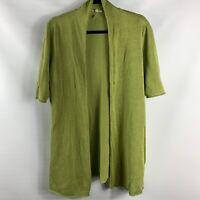 Eileen Fisher Women's Open Front Cardigan Sweater Linen S/Sleeve Size Medium