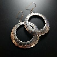 Sterling Silver 925 Earrings Mexico Taxco Vintage LARGE